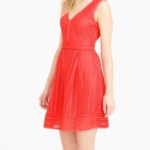 J.crew petite striped eyelet dress red